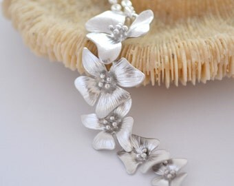 Silver Cherry Blossom Necklace, Sterling Silver Chain, Cascading Flower Necklace, Gift Under 30