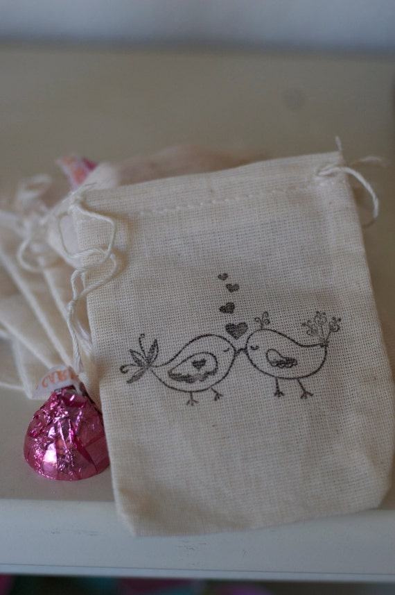 Wedding Gift Bags Etsy : wedding favors Love Bird Favor Bags Muslin Favor 65 Large Bags (CuStOm ...