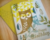 Yellow Owl Birthday Card with Modern Mid Century Leaves and Geometric Pattern