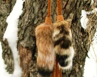 bobcat.medicine ~ Natural Bobcat Tail Single Earring or Clip on Buckskin Braid
