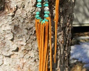 deep.roots.grounded ~ Long Buckskin Fringe Necklace w Natural Raw Turquoise Stones & Silver Findings