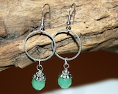 Silver Hoop Dangles Up-cycled Re-purposed Jewelry Green Stone and Silver