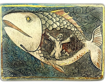 Jonah and the Whale. Ceramic wall art. 24k gold ornaments. Free shipping