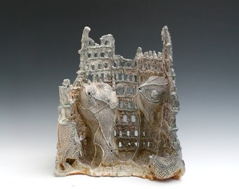 Colosseum, Busy Bee Series, Colosseum Sculpture, Soda Fired Sculpture