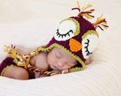 Crochet Sleepy Owl Hat and Diaper Cover Set - Newborn Sleepy Owl Hat - Crochet Baby Owl Hat