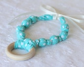New Mom Gift/ Necklace with Teething Ring in Aqua Dots