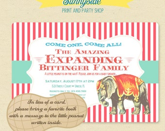 Printable Vintage Circus Baby Shower Invitation, Amazing Expanding Family, Baby Shower Invite, Peanut