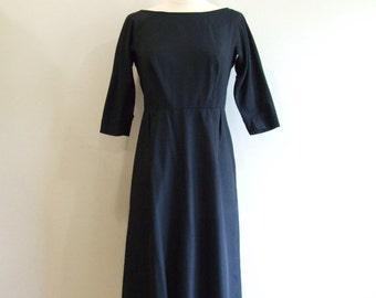 Little Black Dress Vintage 1950s LBD Party Dress - S/M