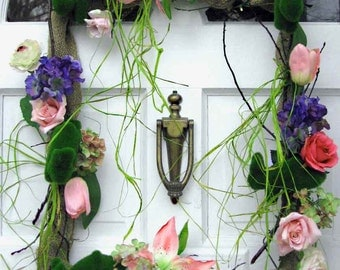 Mossy Bunnies Gone Wild wreath, celebrate spring, Easter, rectangular wreath, burlap frame, hydrangea, spring flowers & 5 leaping bunnies,