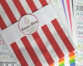 150 Rainbow Stripe Party Bags, Rainbow Stripe Candy Bags, Popcorn Bags, Favor Bags, Carnival Stripe Party Bags, Stripe Candy Bags