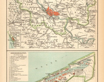 1904 Antique Dated Map of the Hanseatic City of Bremen and Bremerhaven