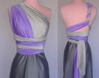 3 Color Ombre Infinity Convertible Wrap Twist Dress - 37 Colors - Ombre Bridesmaids Dress