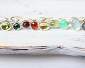 Gemstone stacking ring, sterling silver, minimal jewelry, birthstone jewelry, garnet, opal, pearl, peridot, turquoise, stackable, stack ring