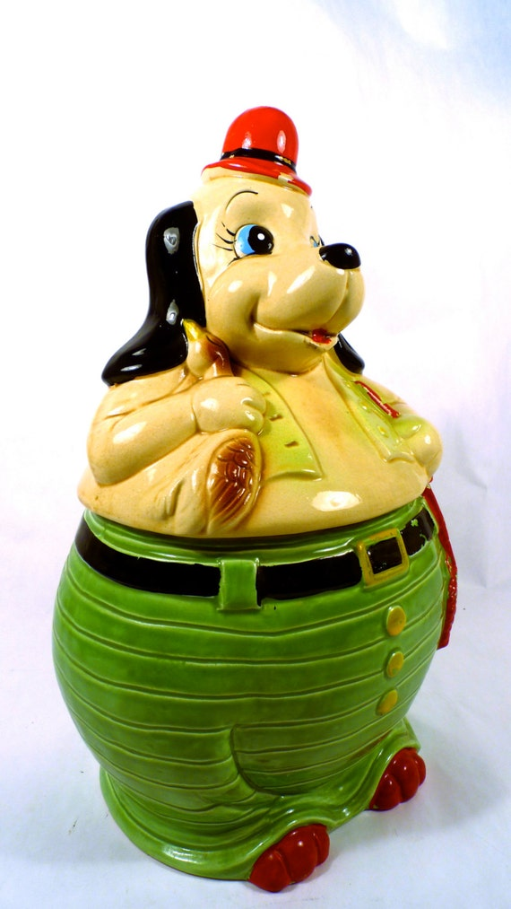Cute Vintage Cookie Jar -  Hunting Dog - He even has a hat