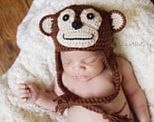 Monkey Hat, Photo Prop Crochet Earflap Brown with Braids, Newborn to 3 Month Size (Item 830) - ThatsTheCutestThing