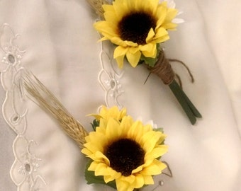 Sunflower Wedding flowers boutonniere summer outdoor Bridal party accessories groomsmen buttonholes silk artificial Sunflower men buttonhole