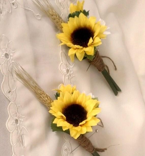Sunflower Wedding Flowers Boutonniere Summer Outdoor Bridal Party