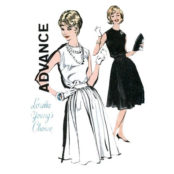 Cocktail Dress Pattern Advance 9868 Misses 1960s Sleeveless Full Skirt Dress Loretta Young Bust 32 Womens Vintage Sewing Pattern UNCUT