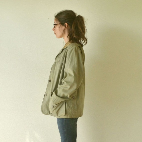 Abercrombie & Fitch Hunting Safari Jacket Vintage 1950s Khaki Green Mens Medium / Womens Large