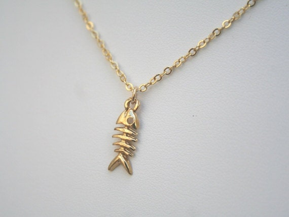 fish bone necklace in gold skeleton necklace fish