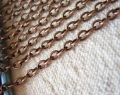 Chain : 5 meters / 16 feet ... Antique Copper Open Link Oval Cable Chain 3.3mm x 4.8mm x .9mm --  Lead, Nickel & Cadmium free 61019