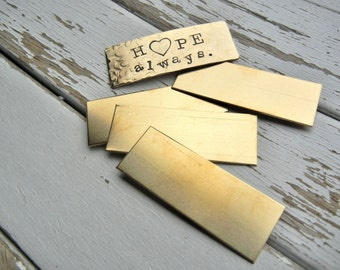 """BRASS Blank - 3/4"""" x 2"""" Metal Blank for Hand Stamped Jewelry- Use on Leather Cuffs or ID Bracelets - 22gauge - 6 Pack - Metal Stamping"""