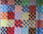Vintage RETRO 1960's and 70's BOW TIE Quilt Top - Polyesters Bright and Colorful