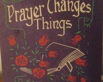 Vintage Religious Church Memorabilia Glitter Sign Prayer Christian Bible