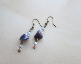Antique brass fish hook earrings with amethyst nuggets and faceted AB Czech glass beads