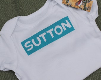 Personalized Onesie in Turquise Blue