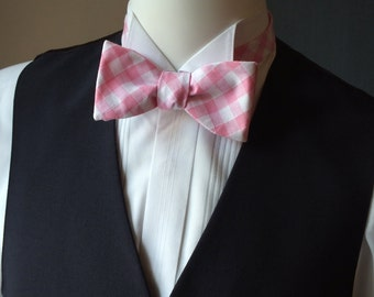 Pink gingham bow tie - freestyle - men's bowtie - adjustable