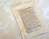 Lavender Sachet w/ Old World Script on Ivory Linen (Gifts under 10 dollars) Fresh Dried Lavender/ Paris/ French Script