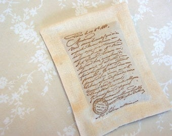 Lavender Sachet w/ Old World Script on Ivory Linen (Gifts under 10 dollars) Fresh Dried Lavender/ Paris/ French Script