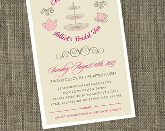 Retro Bridal Tea invitations. Bridal Shower Kitchen Tea invitations printable featuring cake stand and teapot illustration.