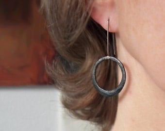 Modern Minimal Black Copper Hoop Dangle Earrings - Oxidized Handcrafted Hoops