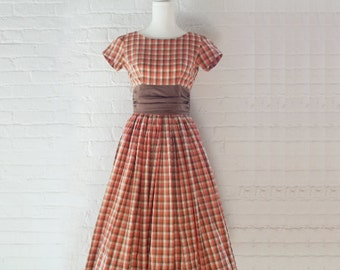 1950s Orange Plaid Fit and Flare Dress 50s Vintage Check Cotton Full Skirt Shelf Bust Prom Dress Small XS Mid Century Gown New Look Dress