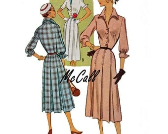 1950 McCall 8109 Misses Dress Vintage Sewing Pattern Size 12 great shirt timeless classic dress pattern with sleeve options