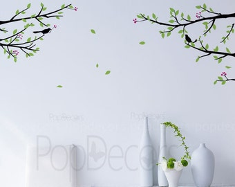 Branch Wall Decal Nature Decal Living Room Decal Room Vinyl Decal- Elegant tree branch with birds -Designed by Pop Decors