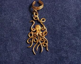 Bronze Octopus Ear Cuff