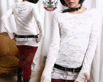 RTBU Goth Punk Mummy Corroded Sheer HOLE Shirt Mitten Sleeve