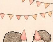Hedgehog Party 4x6 Notecard