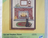 1976 Ball Point Paint Art Kit - Cat & Fireplace Picture - LeeWards