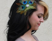 Natural peacock Feathers w Light Brown and Olive Green Rooster feather accents Boutique Large Hair Clip Fascinator Photo Prop