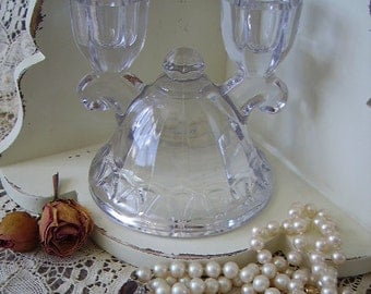 Imperial Crocheted Double glass candle holder, Vintage, clear glass Wedding decor