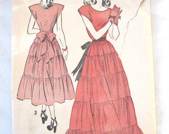 1940s Dress Pattern, Advance 4711, Evening Dress & Sash, Tiered Formal Dress Vintage Sewing Pattern Teen Girls Size 14, Bust 31