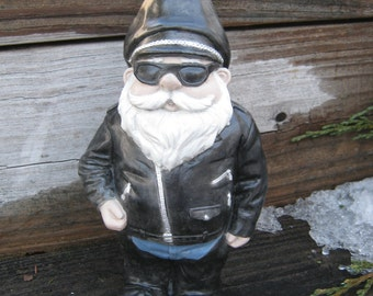 Biker Gnome Concrete Garden Statue, Gnomes In Black Leathers Worn By Bikers,  Hog Motorcycle