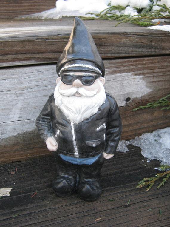 Gnome Garden: Biker Gnome Concrete Garden Statue Gnomes In By