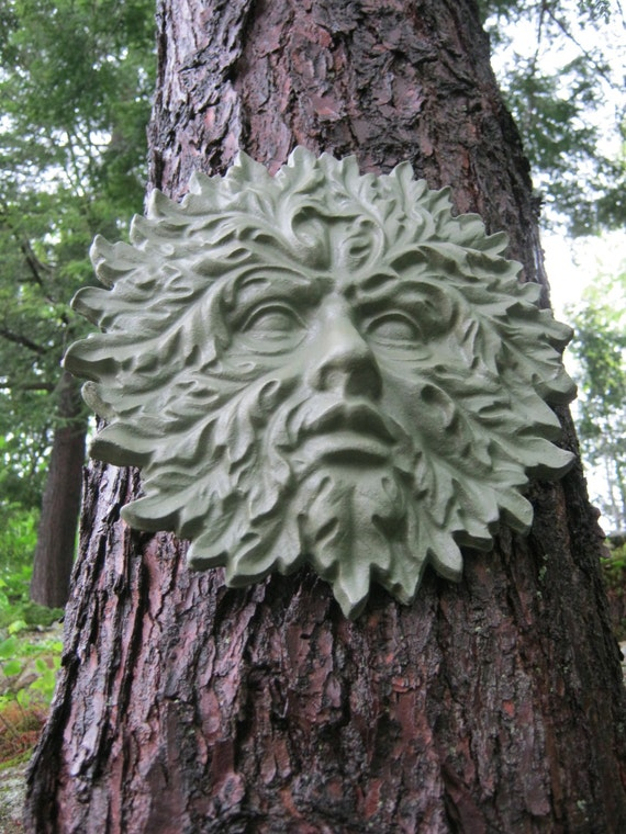 Green Man Face Concrete Garden Decor Cement Face Greenman