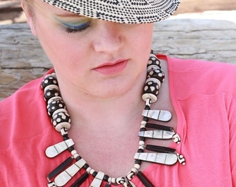 COLOR BLIND Black & White Horn Shell and Bone Tribal Statement Necklace