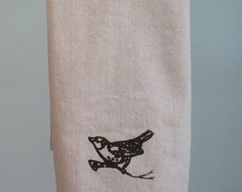 Osnaburg tea towel with wren bird
